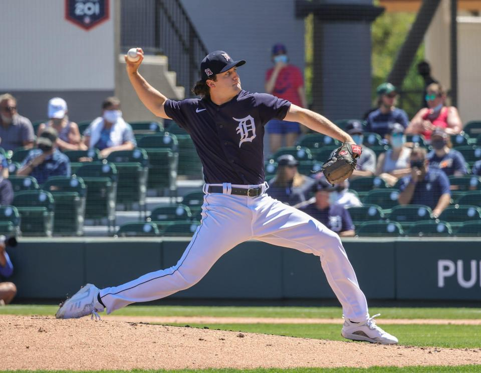 Detroit Tigers starting pitcher Casey Mize throws a pitch against the Toronto Blue Jays during the second inning March 19, 2021, at Joker Marchant Stadium in Lakeland, Florida.