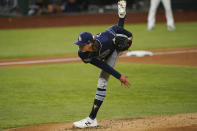 Tampa Bay Rays starting pitcher Tyler Glasnow throws against the Los Angeles Dodgers during the second inning in Game 1 of the baseball World Series Tuesday, Oct. 20, 2020, in Arlington, Texas. (AP Photo/Eric Gay)