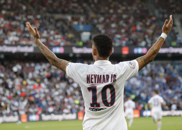 PSG's Neymar during the French League One soccer match between Paris Saint Germain and Strasbourg at the Parc des Princes Stadium in Paris, France, Saturday Sept.14, 2019. (AP Photo/Francois Mori)