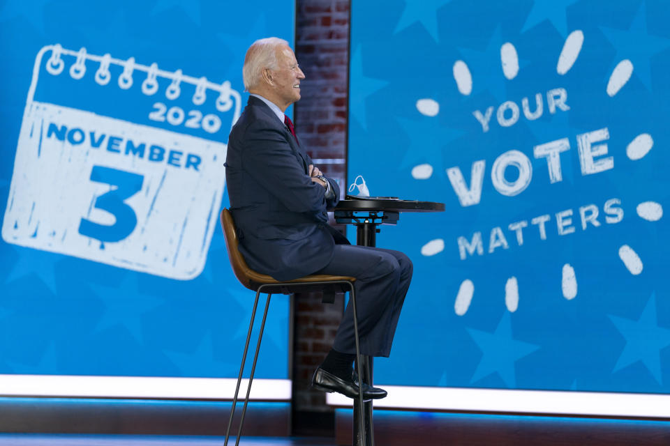 """Democratic presidential candidate former Vice President Joe Biden appears on a """"Zoom with Oprah Winfrey"""" virtual show at The Queen theater in Wilmington, Del., Wednesday, Oct. 28, 2020. (AP Photo/Andrew Harnik)"""