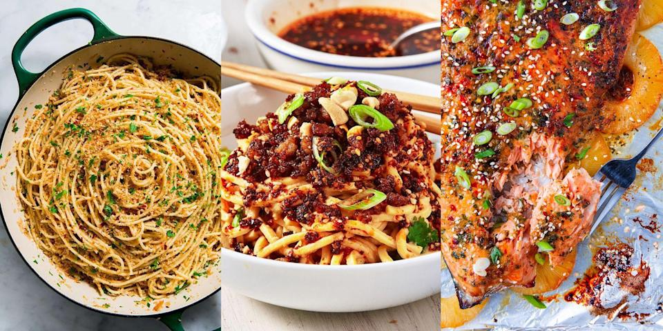 """<p>Weeknight cooking doesn't have to stressful, especially when there's tons and tons of uncomplicated <a href=""""https://www.delish.com/uk/cooking/recipes/g33965648/dinner-inspiration/"""" rel=""""nofollow noopener"""" target=""""_blank"""" data-ylk=""""slk:dinner"""" class=""""link rapid-noclick-resp"""">dinner</a> recipes out there for you to try. We're talking about <a href=""""https://www.delish.com/uk/cooking/recipes/a35426947/baked-feta-pasta-tiktok/"""" rel=""""nofollow noopener"""" target=""""_blank"""" data-ylk=""""slk:Baked Feta Pasta"""" class=""""link rapid-noclick-resp"""">Baked Feta Pasta</a>, <a href=""""https://www.delish.com/uk/cooking/recipes/a35137422/crack-noodles-recipe/"""" rel=""""nofollow noopener"""" target=""""_blank"""" data-ylk=""""slk:Spicy Chilli Garlic Noodles"""" class=""""link rapid-noclick-resp"""">Spicy Chilli Garlic Noodles</a>, <a href=""""https://www.delish.com/uk/cooking/recipes/a37542833/vegetarian-stuffed-peppers-recipe/"""" rel=""""nofollow noopener"""" target=""""_blank"""" data-ylk=""""slk:Chickpea Stuffed Peppers"""" class=""""link rapid-noclick-resp"""">Chickpea Stuffed Peppers</a> and more! From one-pot wonders to fuss-free pasta dishes, we've rounded up 40 super-simple quick dinner ideas for you to give a go. </p><p>Looking for more easy recipes? We've got <a href=""""https://www.delish.com/uk/cooking/recipes/g32768299/easy-dinner-recipes/"""" rel=""""nofollow noopener"""" target=""""_blank"""" data-ylk=""""slk:50+ easy dinner recipes"""" class=""""link rapid-noclick-resp"""">50+ easy dinner recipes</a> as well as <a href=""""https://www.delish.com/uk/cooking/recipes/g32797778/cheap-dinner-recipes/"""" rel=""""nofollow noopener"""" target=""""_blank"""" data-ylk=""""slk:40+ gloriously cheap dinner recipes"""" class=""""link rapid-noclick-resp"""">40+ gloriously cheap dinner recipes</a>. </p>"""