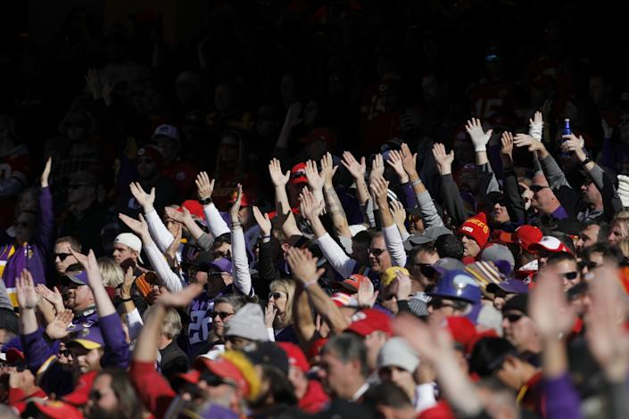 """Kansas City Chiefs fans do the chop during the second half against the Minnesota Vikings in Kansas City, Mo., on Nov. 3, 2019. <span class=""""copyright"""">(Colin E. Braley / Associated Press)</span>"""