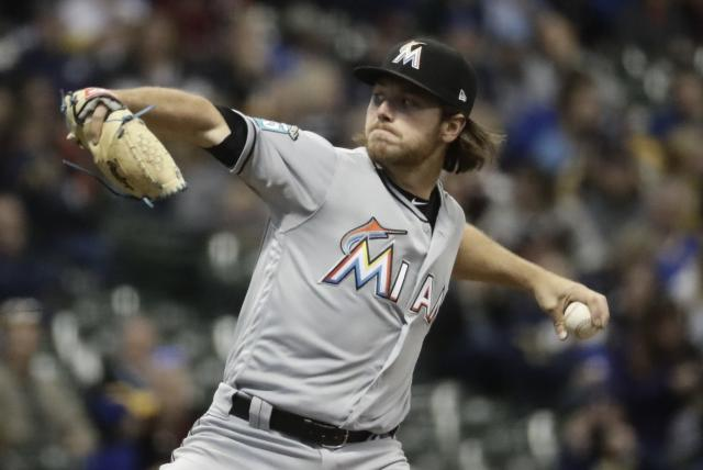 Miami Marlins starting pitcher Dillon Peters throws during the first inning of a baseball game against the Milwaukee Brewers Thursday, April 19, 2018, in Milwaukee. (AP Photo/Morry Gash)