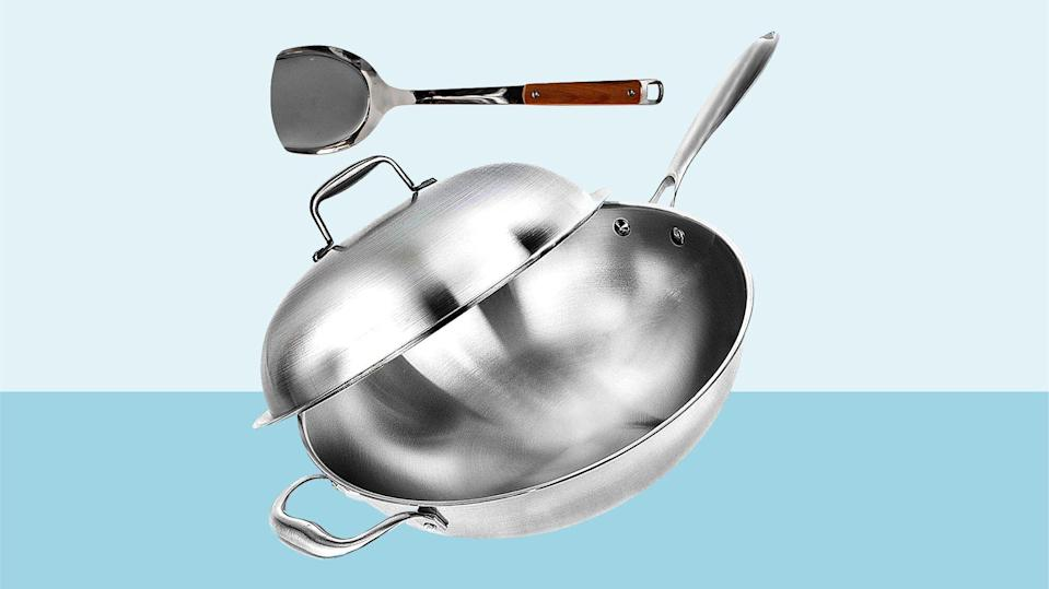 "Wok Pan with Lid - 13"" Wide, 2mm Thick Stir Fry Frying Pan Stainless Steel"