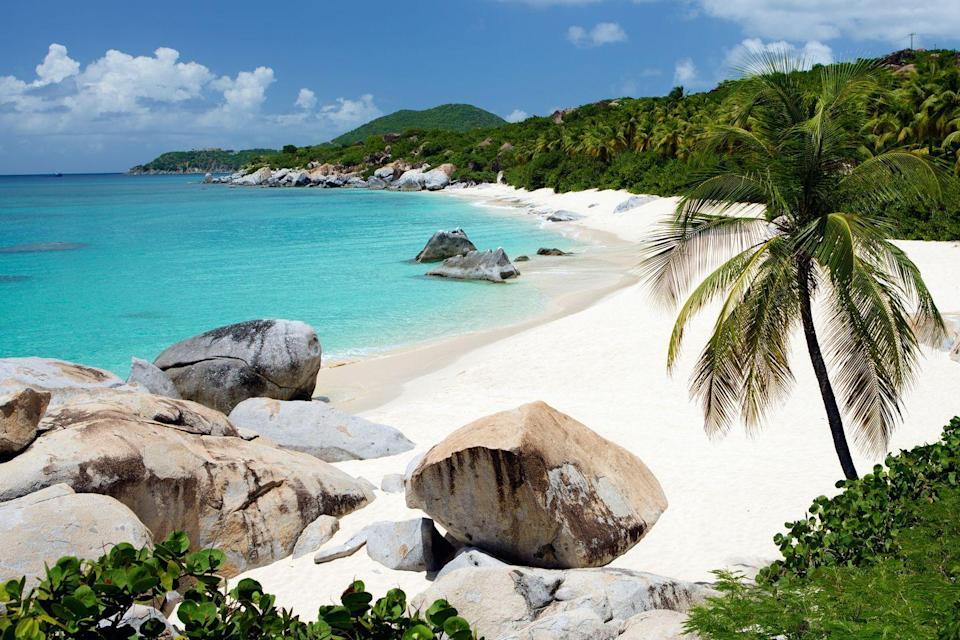 <p>Large granite boulders line the coast at the southern tip of Virgin Gorda, forming shallow pools that make The Baths an ideal spot for swimming and snorkeling.</p>
