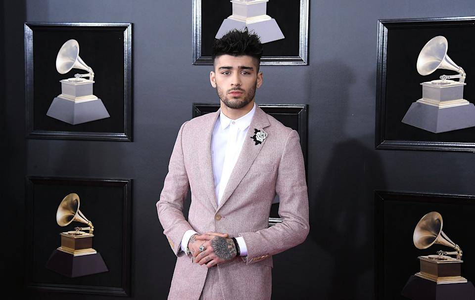 Zayn Malik arrives at the 60th Annual GRAMMY Awards at Madison Square Garden on January 28, 2018 in New York City.  (Photo by Steve Granitz/WireImage)