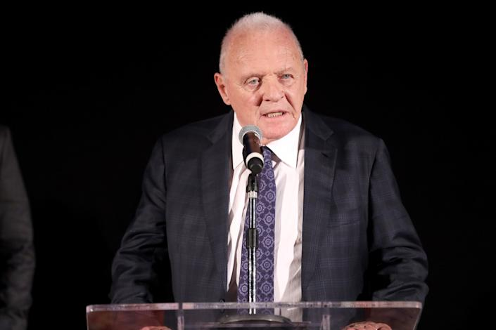 Anthony Hopkins speaks onstage during an event for 'The Two Popes' on November 18, 2019. (Photo by Rich Polk/Getty Images for Netflix)