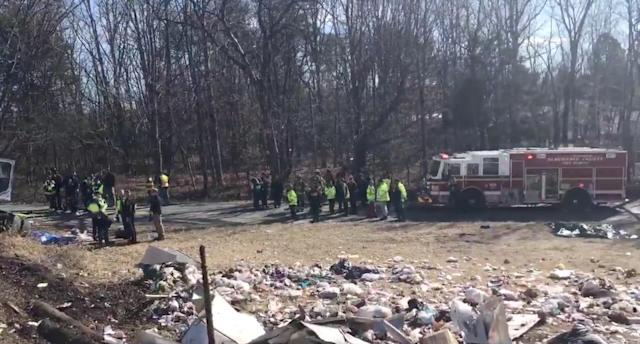 <p>View of the scene following the accident when a train traveling from Washington to West Virginia carrying Republican members of the U.S. House of Representatives collided with a garbage truck, in Crozet, Va. on Jan. 31, 2018. (Photo: Congressman Steve King/Reuters) </p>