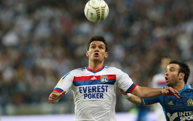 Olympique Lyonnais' defender Dejan Lovren controls the ball during the French League Cup Final football match Lyon vs. Marseille at the Stade de France in Saint-Denis, north of Paris. AFP PHOTO / KENZO TRIBOULLIARD (Photo credit should read KENZO TRIBOULLIARD/AFP/Getty Images)