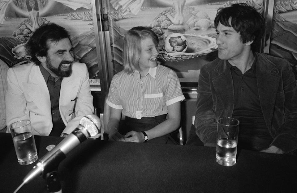 Martin Scorsese, Jodie Foster, and Robert de Niro during a press conference at the 29th Cannes Film Festival in 1976.