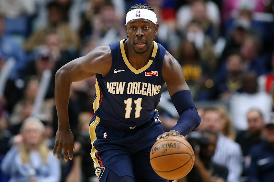 NEW ORLEANS, LOUISIANA - FEBRUARY 28: Jrue Holiday #11 of the New Orleans Pelicans drives with the ball against the Cleveland Cavaliers during the first half at the Smoothie King Center on February 28, 2020 in New Orleans, Louisiana. NOTE TO USER: User expressly acknowledges and agrees that, by downloading and or using this Photograph, user is consenting to the terms and conditions of the Getty Images License Agreement.  (Photo by Jonathan Bachman/Getty Images)