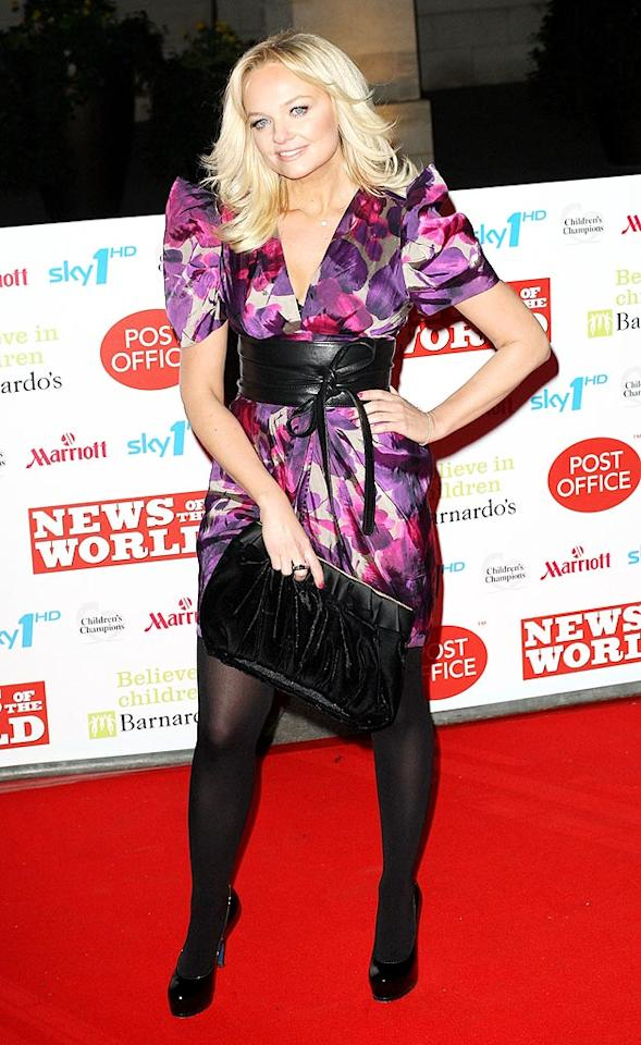 "Spice Girl Emma Bunton looked like a kid playing dress-up in her overwhelming print frock at the Children's Champions 2010 Awards in London. Danny Martindale/<a href=""http://www.wireimage.com"" target=""new"">WireImage.com</a> - March 3, 2010"