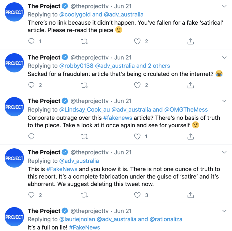 The Project's social media team responded directly to several outraged Twitter users in the wake of a satirical article about host Waleed Aly