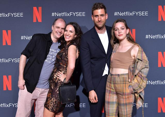 Mike Flanagan, Kate Siegel, Oliver Jackson-Cohen and Victoria Pedretti attend the Netflix FYSEE Event for 'Haunting of Hill House', 2019. (Emma McIntyre/Getty Images for Netflix)