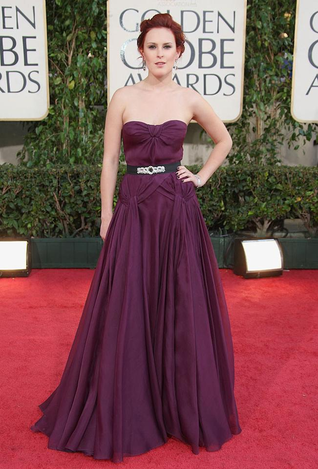 "Miss Golden Globe Rumer Willis looked fab in an eggplant Reem Acra gown. Frazer Harrison/<a href=""http://www.gettyimages.com/"" target=""new"">GettyImages.com</a> - January 11, 2009"