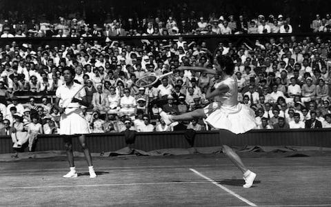 <span>Together Angela Buxton and Althea Gibson won the 1956 French and Wimbledon doubles titles</span> <span>Credit: Getty Images </span>