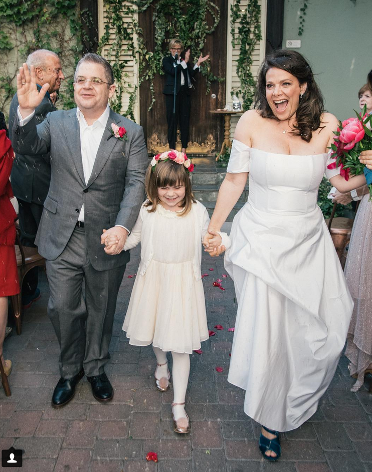 """<p>""""True happiness. Forever and always. The Oswalts,"""" the actress captioned this beautiful wedding photo with new husband, Patton Oswalt, and his daughter, Alice, 8. The pair married on Saturday at Jim Henson Studios in Los Angeles. Actress Martha Plimpton served as officiant, as the pair, who got engaged in July, said """"I do."""" (Photo: <a rel=""""nofollow noopener"""" href=""""https://www.instagram.com/p/BbHrWbojfMP/?taken-by=meredithsalenger"""" target=""""_blank"""" data-ylk=""""slk:Meredith Salenger via Instagram"""" class=""""link rapid-noclick-resp"""">Meredith Salenger via Instagram</a>) </p>"""