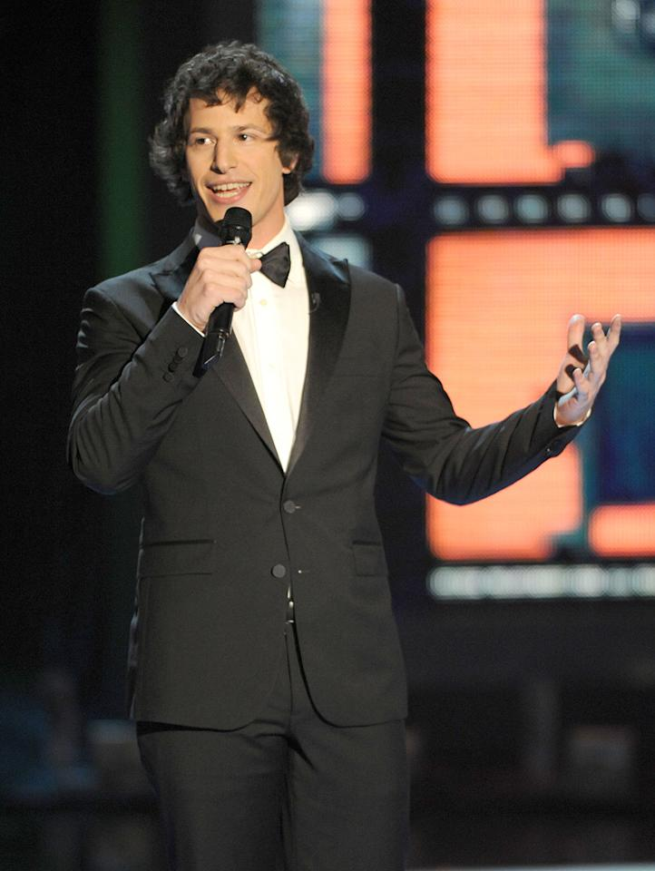 """Host <a href=""""http://movies.yahoo.com/movie/contributor/1804357581"""">Andy Samberg</a> onstage during the 18th Annual MTV Movie Awards - 05/31/2009"""