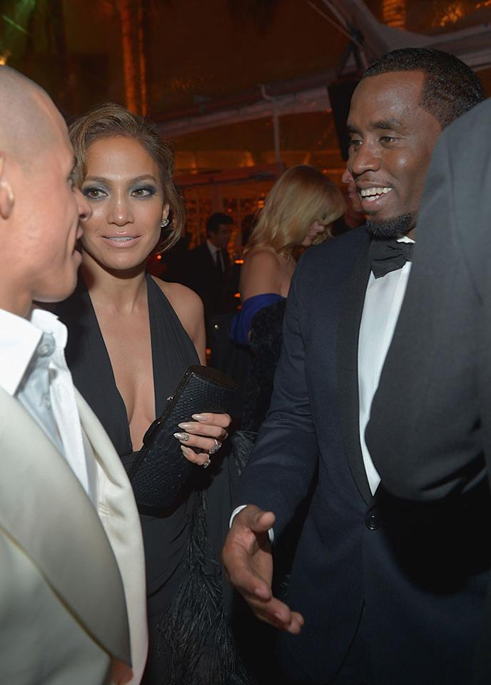 Casper Smart, Jennifer Lopez and Sean Combs attend The Weinstein Company's 2013 Golden Globe Awards After Party presented by Chopard held at The Old Trader Vic's at The Beverly Hilton Hotel on January 13, 2013 in Beverly Hills, California.