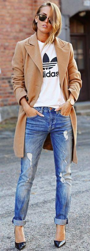 """<p>Adidas tee and boyfriend jeans must be paired with trainers, right? Wrong. Add a killer pair of stilettos for a perfect smart/ casual look.<i><a href=""""https://uk.pinterest.com/pin/443112050817811966/"""">[Photo: Pinterest]</a></i></p>"""