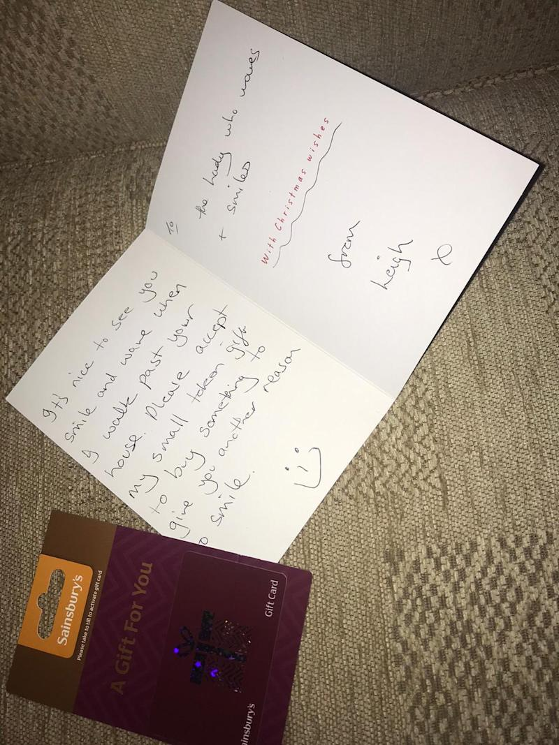 A well-wisher, called Leigh, posted the card through the grandmother's letterbox. (Twitter)