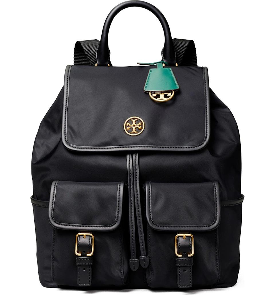 <p>You'll take the <span>Tory Burch Piper Flap Nylon Backpack</span> ($222, originally $240) everywhere with you.</p>