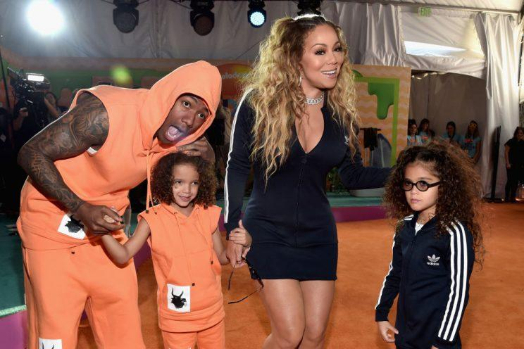 Exes Nick Cannon and Mariah with their kids, Moroccan and Monroe, on the red carpet at Nickelodeon's 2017 Kids' Choice Awards on March 11. (Photo: Alberto E. Rodriguez/Getty Images)