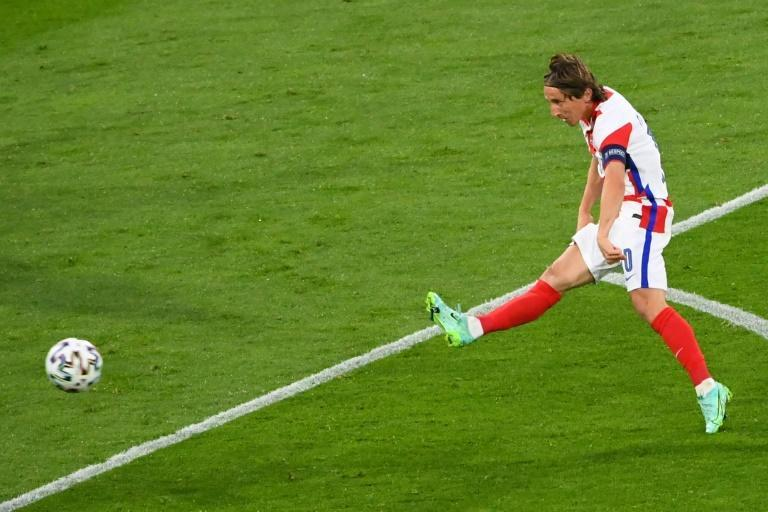 Captain marvel: Luka Modric led Croatia into the last 16 of Euro 2020 with a stunning goal in a 3-1 win over Scotland