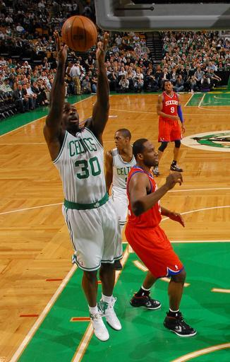 BOSTON, MA - MAY 21: Brandon Bass #30 of the Boston Celtics grabs the rebound against the Philadelphia 76ers in Game Five of the Eastern Conference Semifinals during the 2012 NBA Playoffs on May 21, 2012 at TD Garden in Boston, Massachusetts. (Photo by Brian Babineau/NBAE via Getty Images)