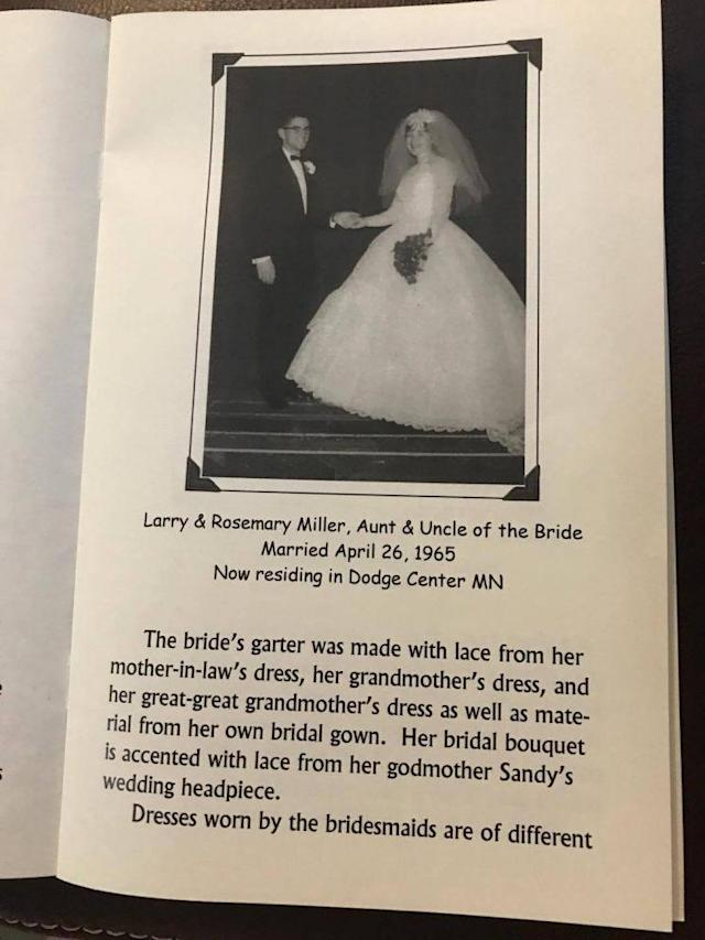 The wedding program explaining the dresses' origins. (Photo: Courtesy Tammy Rakowitz.)