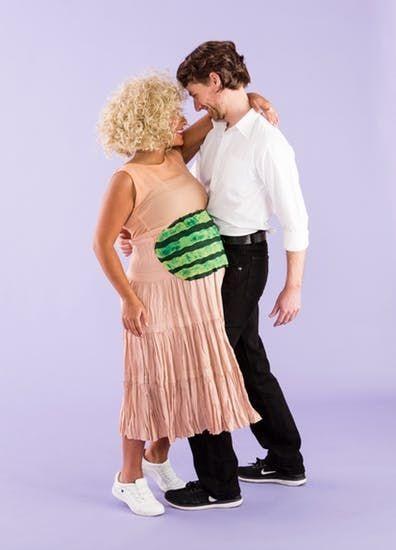 """<p>Have the time of your life (and re-create that watermelon-carrying scene) with your own Johnny Castle.</p><p><strong>Get the tutorial at <a href=""""https://www.brit.co/maternity-couples-costumes/?slide=4"""" rel=""""nofollow noopener"""" target=""""_blank"""" data-ylk=""""slk:Brit & Co."""" class=""""link rapid-noclick-resp"""">Brit & Co.</a></strong></p><p><a class=""""link rapid-noclick-resp"""" href=""""https://www.amazon.com/Womens-Ruched-Sleeveless-Maternity-Regular/dp/B07PFR72WR/?tag=syn-yahoo-20&ascsubtag=%5Bartid%7C10050.g.4972%5Bsrc%7Cyahoo-us"""" rel=""""nofollow noopener"""" target=""""_blank"""" data-ylk=""""slk:SHOP PINK MATERNITY DRESS"""">SHOP PINK MATERNITY DRESS</a> </p>"""