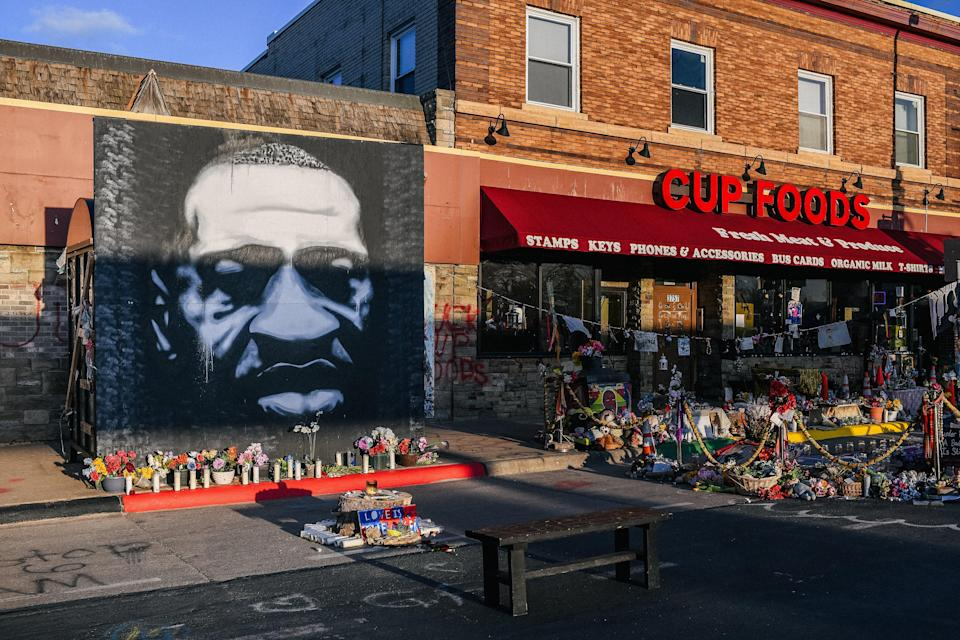 <p>A mural of George Floyd in Minneapolis, Minnesota</p> (Getty Images)