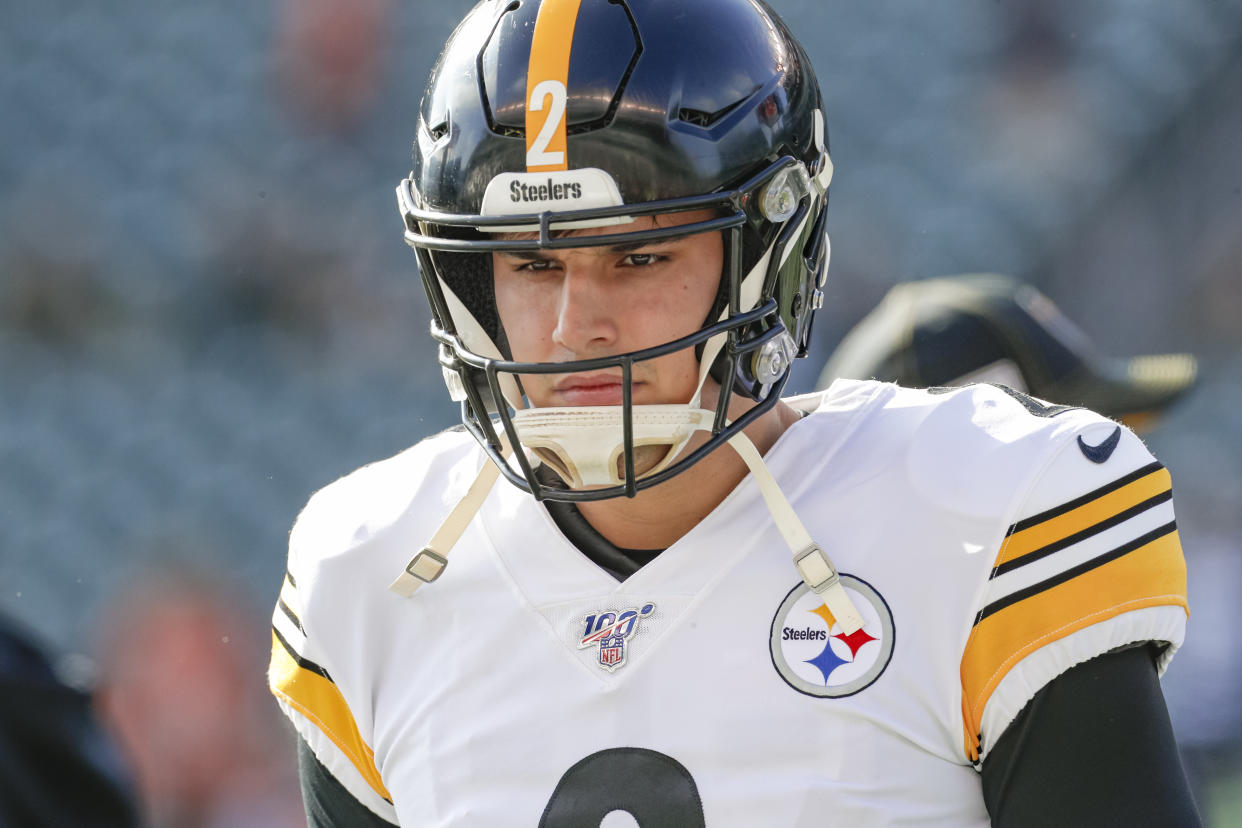 Mason Rudolph took an adamant tone in denying an accusation that he used a racial slur against Myles Garrett. (Michael Hickey/Getty Images)