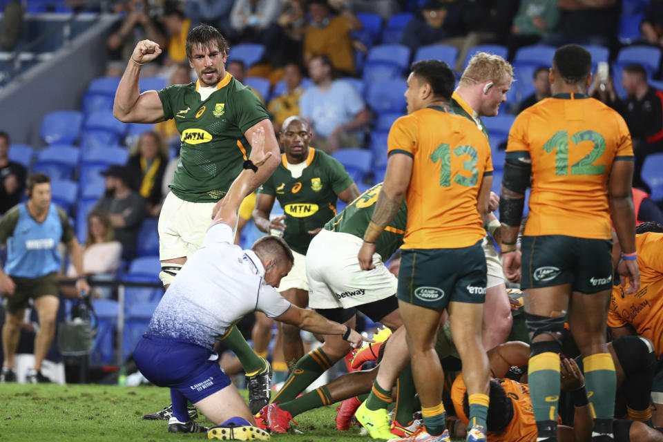 South Africa scores a try against Australia during their Rugby Championship match on Sunday, Sept. 12, 2021, Gold Coast, Australia. (AP Photo/Tertius Pickard)