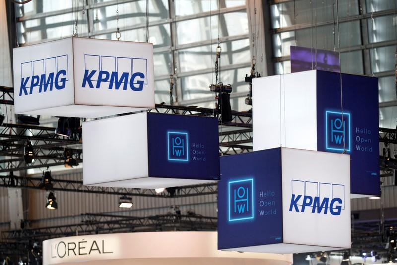 The logo of KPMG, a professional service company is pictured during the Viva Tech start-up and technology summit in Paris
