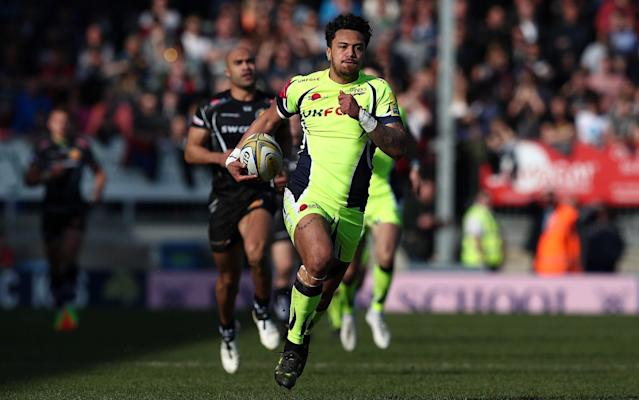 Denny Solomona has scored 11 tries in as many games this season for Sale - Rex Features