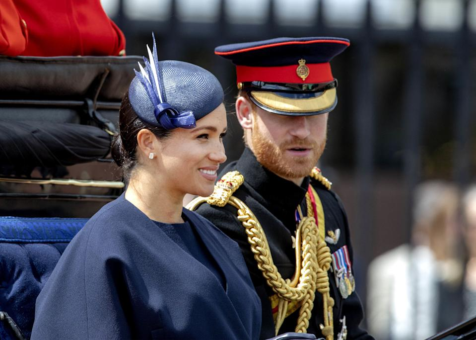 08-06-2019 England The ceremony of the Trooping the Colour, marking the monarch's official birthday, in London.Prince Harry, Duke of Sussex, Meghan, Duchess of Sussex ( PPE/Nieboer /Sipa USA)