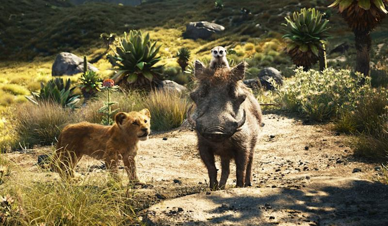 THE LION KING, clockwise from top right: Timon (voice: Billy Eichner), Pumbaa (voice: Seth Rogen), young Simba (voice: JD McCrary), 2019. Walt Disney Studios Motion Pictures / courtesy Everett Collection