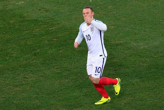 Wayne Rooney celebrates his 53rd and last England goal, against Iceland at Euro 2016