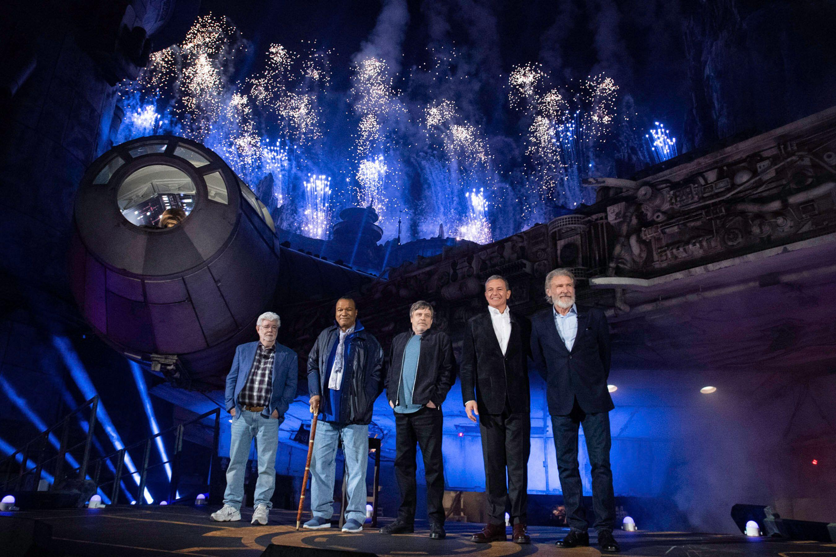 George Lucas, Billy Dee Williams, Mark Hamill, Bob Iger and Harrison Ford at the dedication ceremony for Star Wars: Galaxy's Edge at Disneyland (Richard Harbaugh/Disneyland Resort)