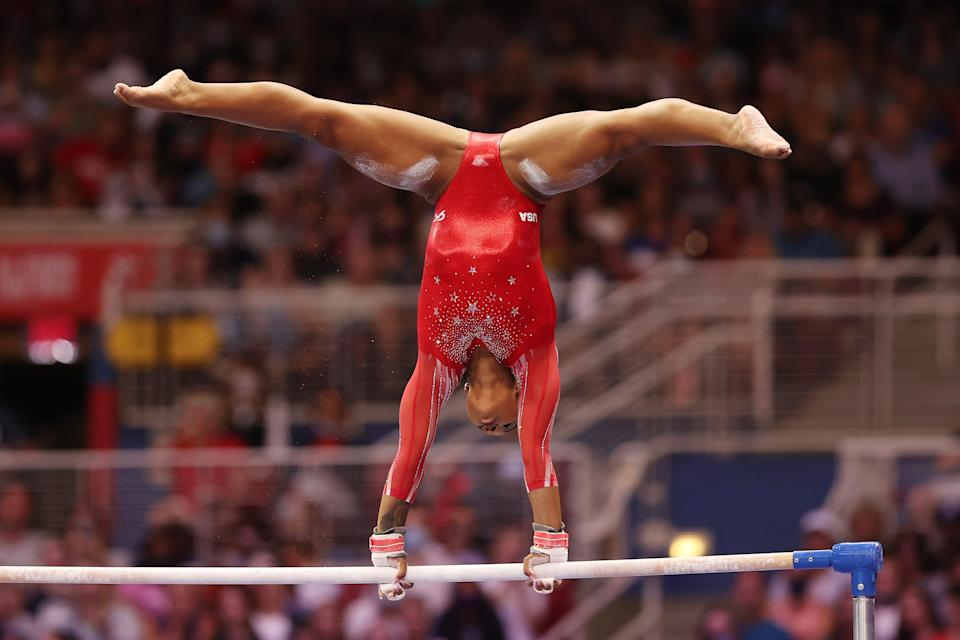 Jordan Chiles competes on the uneven bars during the Women's competition of the 2021 U.S. Gymnastics Olympic Trials.