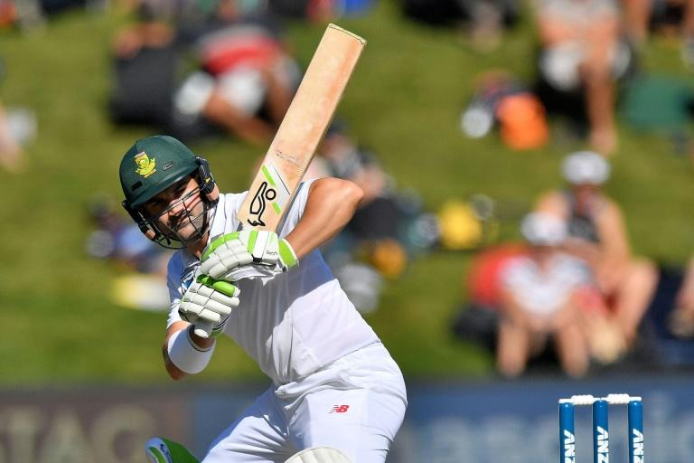 South Africa's Dean Elgar bats on day two of their 1st Test match against New Zealand, at the University Oval in Dunedin, on March 9, 2017