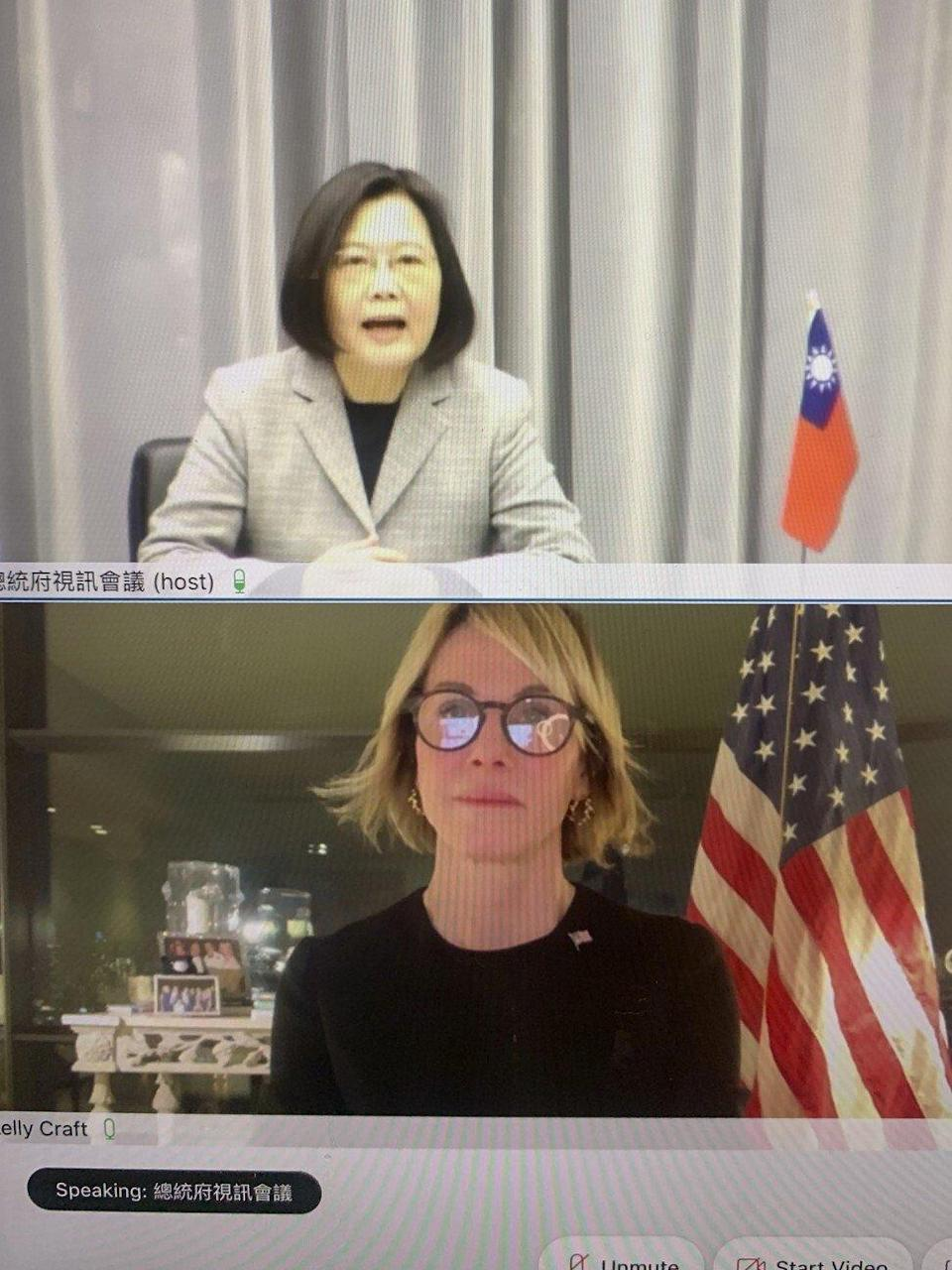 A video screen shows Taiwan's President Tsai Ing-wen and outgoing US Ambassador to the UN Kelly Craft meeting virtually on January 14. Photo: The United States Mission to the United Nations via AP