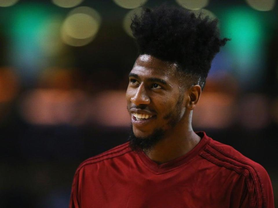 Iman Shumpert of the Cleveland Cavaliers looks on during warmups before the game against the Boston Celtics (Getty)
