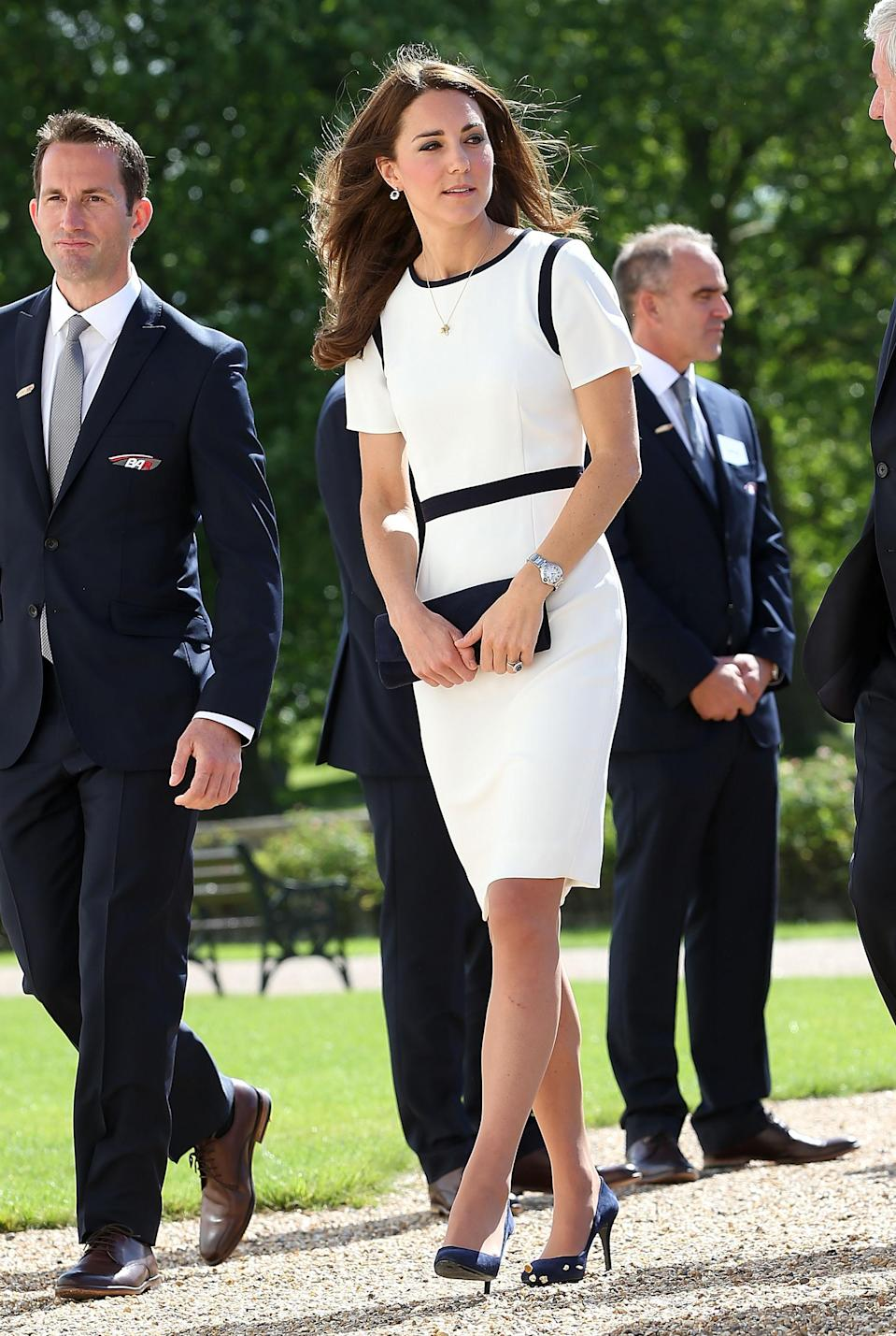 <p>For an event at the National Maritime Museum, Kate Middleton donned a monochrome dress by Jaeger. <em>[Photo: Getty]</em> </p>