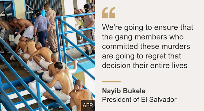 """""""We're going to ensure that the gang members who committed these murders are going to regret that decision their entire lives"""", Source: Nayib Bukele , Source description: President of El Salvador, Image: Inmates at the Izalco prison, northwest of San Salvador, during a security operation within the COVID-19 coronavirus pandemic."""