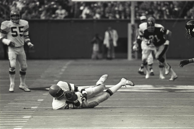 Ken Riley makes a diving interception against the Steelers. (Photo by George Gojkovich/Getty Images)