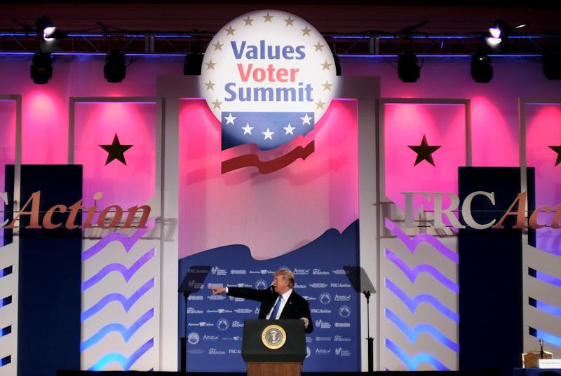 President Donald Trump addresses the Values Voter Summit of the Family Research Council on Friday.