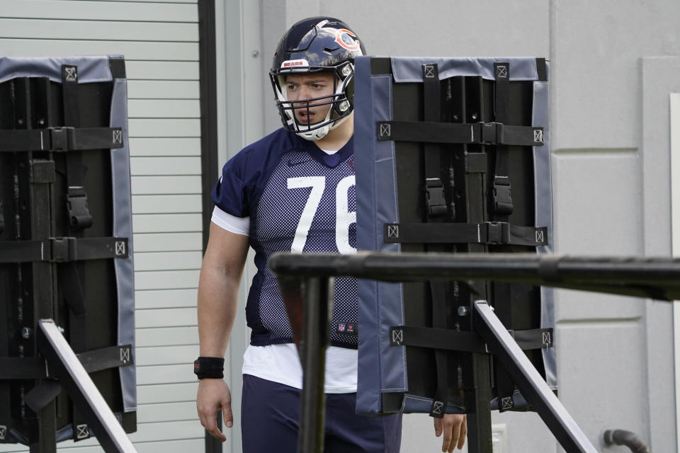 Chicago Bears offensive tackle Teven Jenkins (76) attends the NFL football team's rookie minicamp Friday, May, 14, 2021, in Lake Forest Ill. (AP Photo/David Banks, Pool)