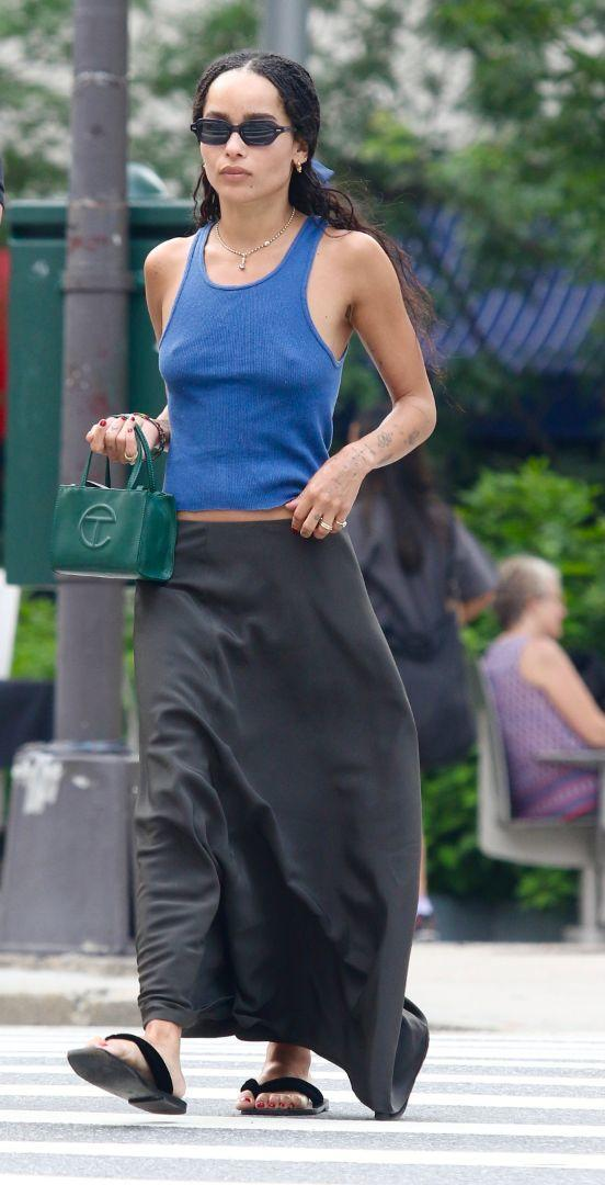 Zoe Kravitz steps out and about in New York, July 26. - Credit: LRNYC/MEGA